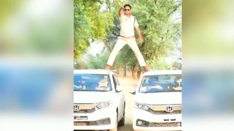 Cop imitates Ajay Devgn Movie stunt video
