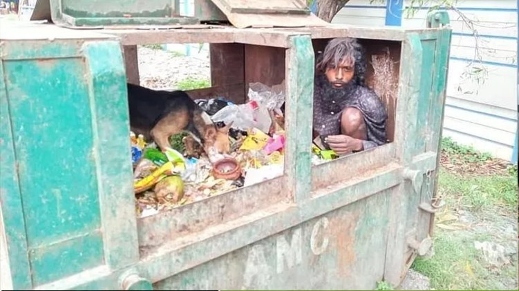 Man Had To Take Shelter In A Dustbin To Survive The Cyclone
