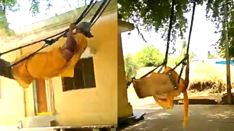 76 year old woman swings like child