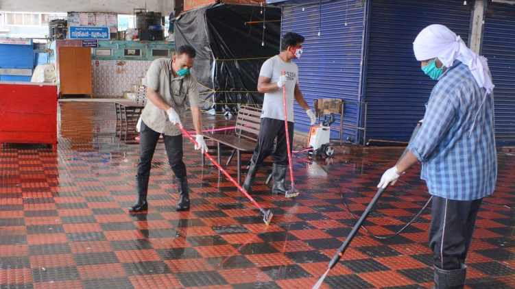 covid19;Thrissur markets have started cleaning up