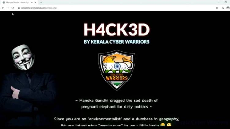 Kerala cyber warriors hacked maneka gandhi's website