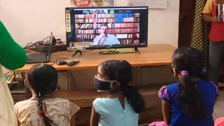 rahul gandhi distributes 350 smart televisions
