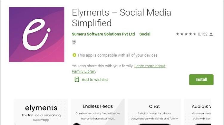 Social media app Elyments