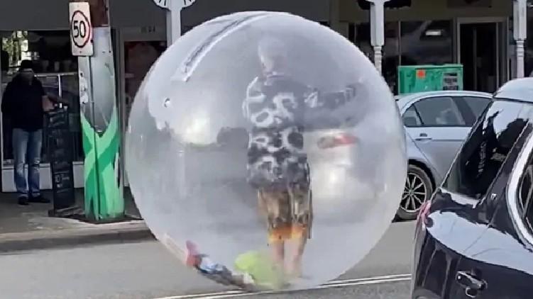 Man Giant Plastic Bubble