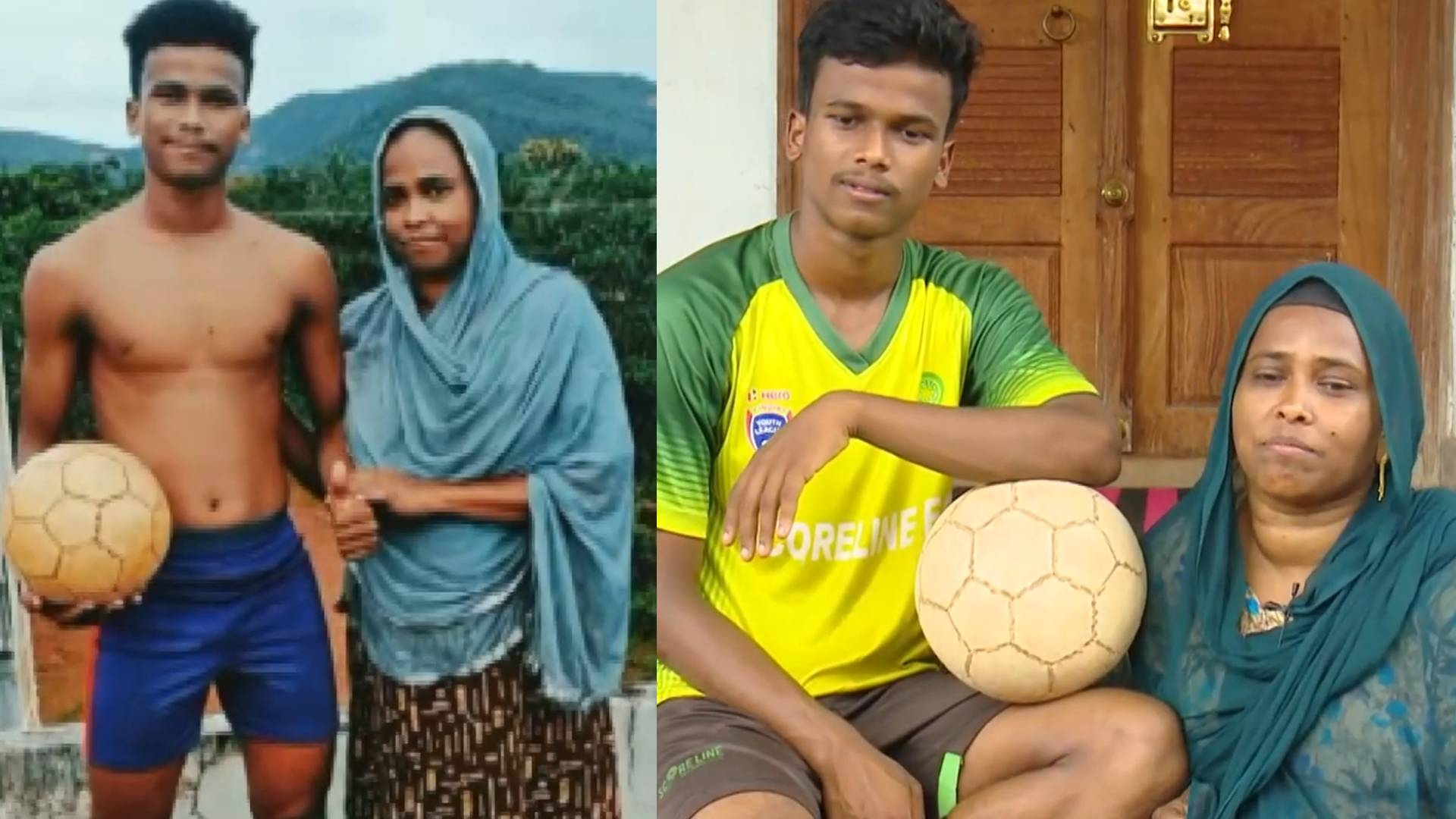 mother son duo playing football