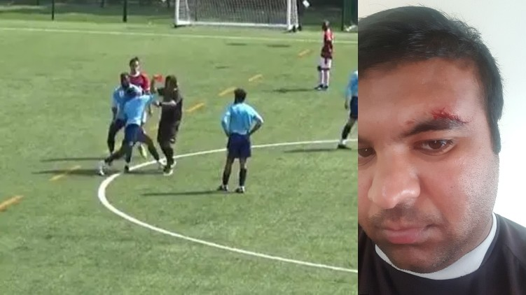 Football player attacked referee