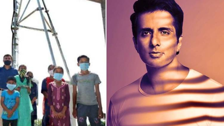 sonu sood giving tower to children