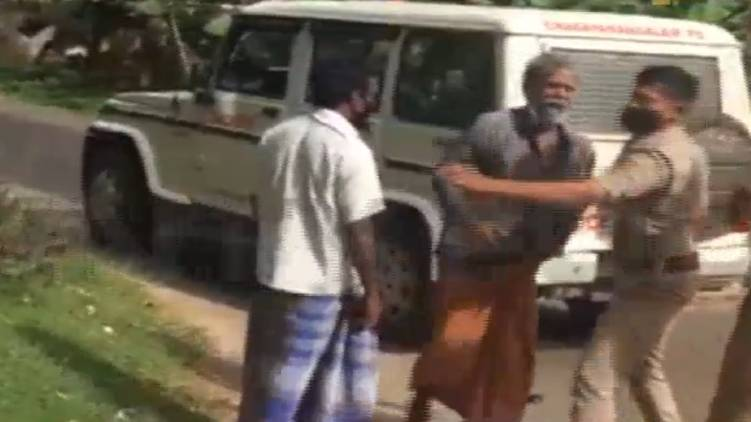 police slaps old man video