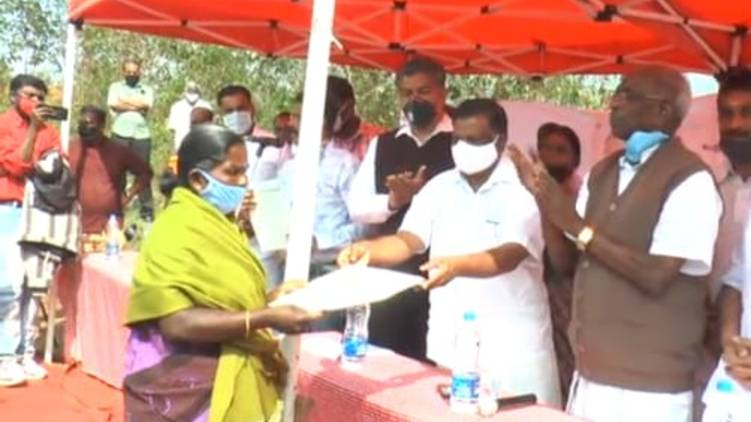 pettimudi; land allotted by the government was handed over