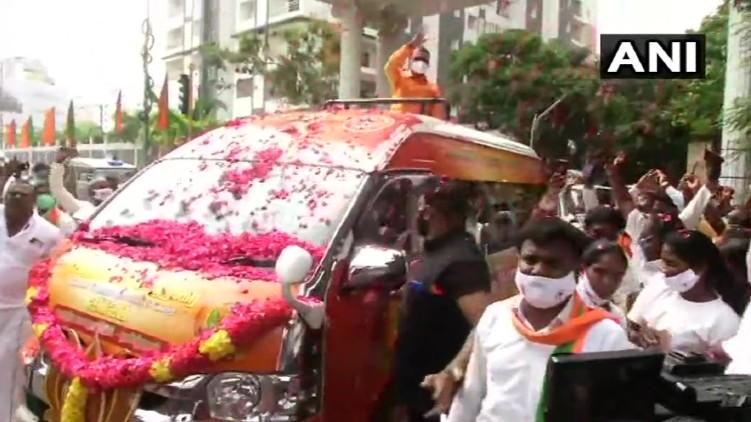 BJP Yatra traffic ambulance