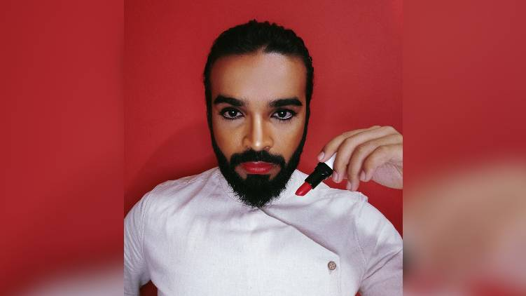 man wears red lipstick challenges society