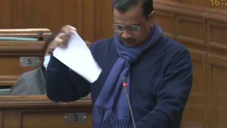 Arvind Kejriwal Tears Farm Laws Copies