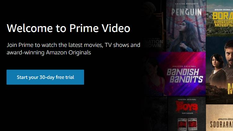 Amazon Prime with 30 days free streaming offer
