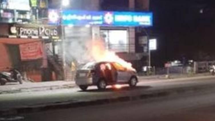 car caught fire in Thiruvananthapuram