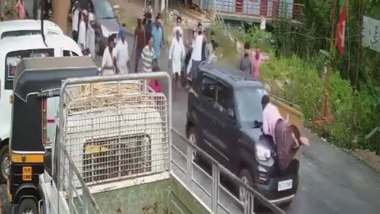 car hits road worker