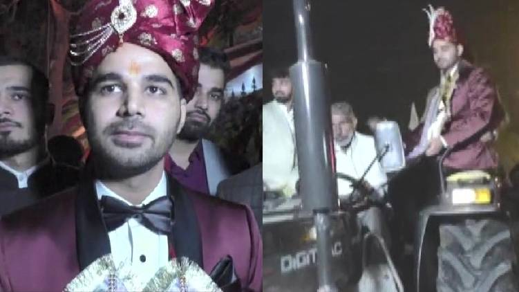 groom drives tractor declaring solidarity to farmers protest