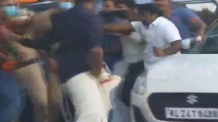 youth congress attack k b ganesh kumars car
