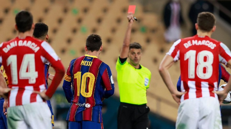 barcelona messi red card