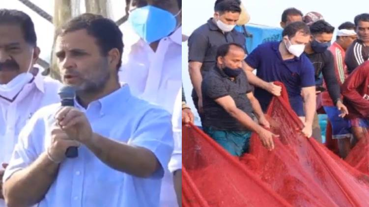 rahul Gandhi spends a day with fishermen