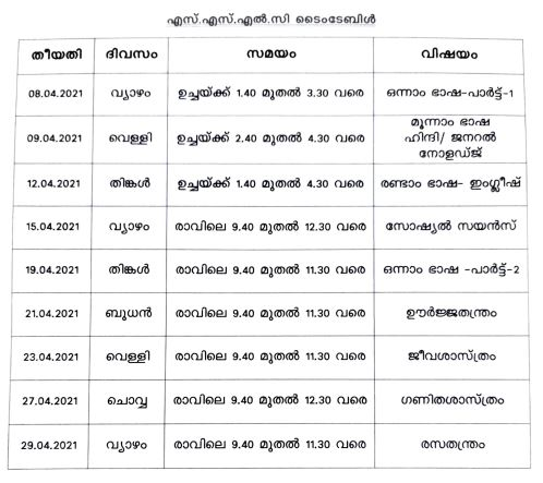 sslc plus two time table declared