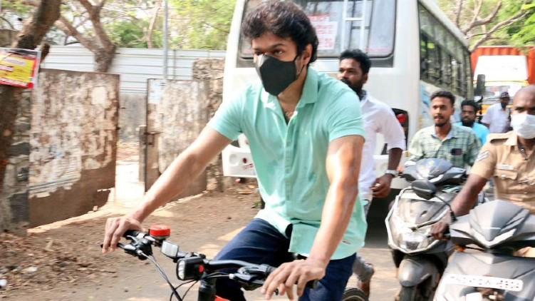 Vijay vote bicycle house