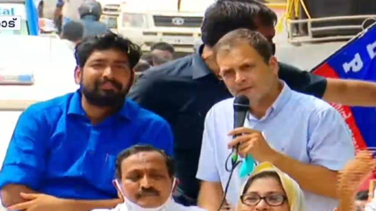 rahul gandhi road show in kozhikode