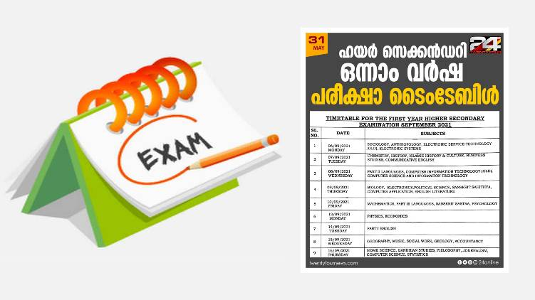 first year higher secondary exam timetable