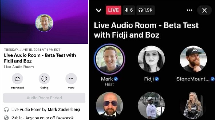 Facebook Audio Room Clubhouse