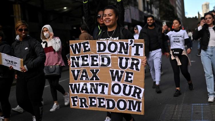 Anti-lockdown protesters in Australia
