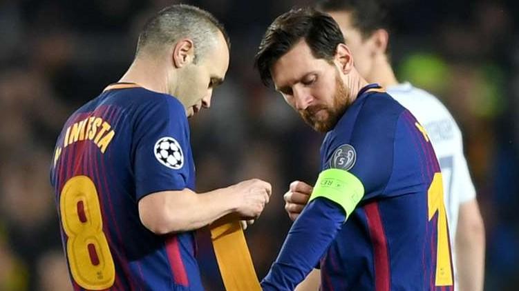 Messi Iniesta PSG Barcelona