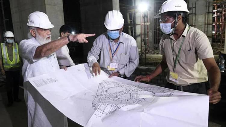 modi visit Parliament Construction Site