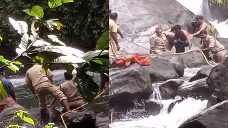 man fall in waterfall idukki