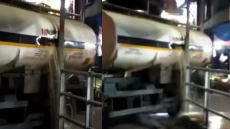 petrol tanker hit electric post